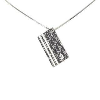 Dior Silver Tone Oblique Pendant Necklace