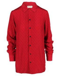 Saint Laurent Red & Black Printed Silk Button Down Shirt