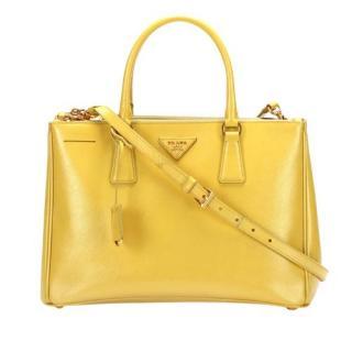Prada Yellow Saffiano Leather Galleria Bag