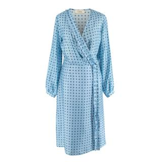 Lisou Long Sleeve Silk Blue Patterned Wrap Dress