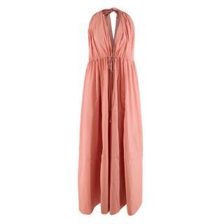 Three Graces London Knotted Cotton Poplin Dusty Pink Dress