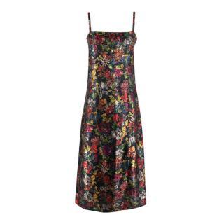 Caramel Floral Jacquard A-Line Slip Dress