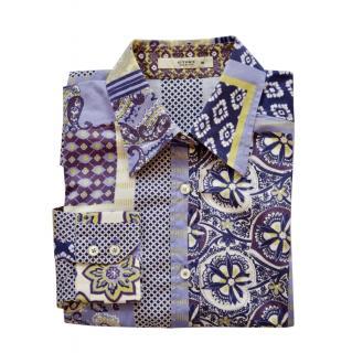 Etro Purple Multi-Print Slim Fit Shirt