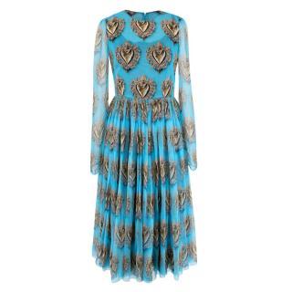 Dolce & Gabbana Sacred Heart Long Sleeve Blue Silk-Chiffon Dress