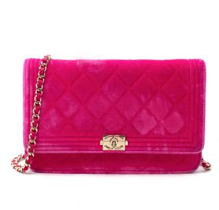 Chanel Pink Velvet Boy Wallet On Chain