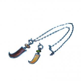 Dyrberg/Kern Gunmetal Tone Tusk Pendant Interchangeable Necklace