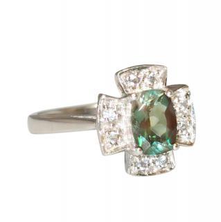 Bespoke White Gold Diamond & Topaz Ring