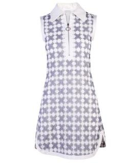 Chloe zip front embroidered lace dress