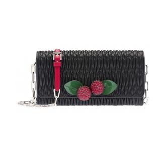 Miu Miu Black Matelasse Cherry Applique Wallet On Chain