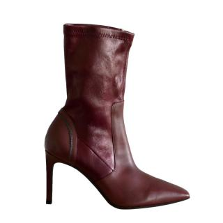 Brunello Cucinelli Stretch Leather Burgundy Ankle Boots