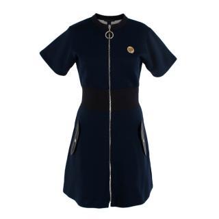 Louis Vuitton Zip Front Navy Short Sleeve Mini Dress