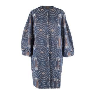 Weise Brondella Navy Wool Metallic Woven Coat