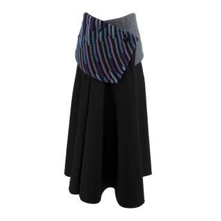 Loewe Black Cotton Gathered Midi Skirt