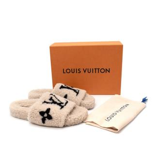 Louis Vuitton Bom Dia Shearling Beige Flat Mules - Sold Out/Rare.