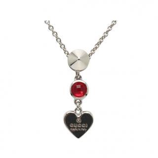 Gucci Crystal Heart Drop Necklace