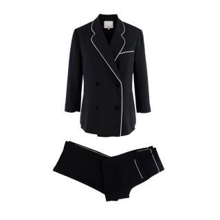 Tibi Spectator silk-trimmed woven navy jacket & pants