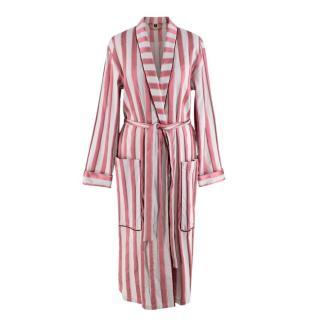Burberry Panama Stripe Cotton Silk Blend Dressing Gown Coat