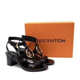 Louis Vuitton Black Leather Faro Sandals