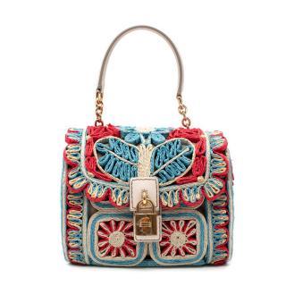 Dolce & Gabbana Miss Dolce Floral Raffia Bag