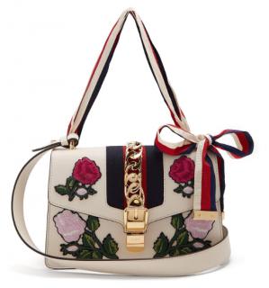 Gucci Sylvie Floral-embroidered Leather Shoulder Bag