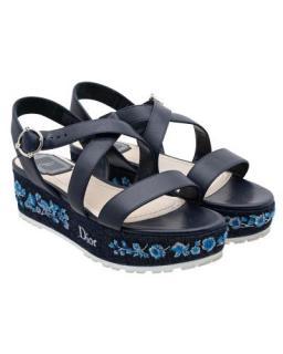 Dior Embroidered Denim Prairie Platform Sandals