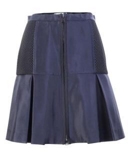 Fendi Navy Pleated Zip Front Skirt