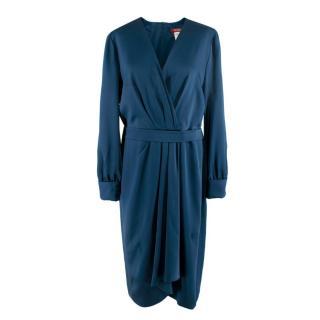 Max Mara Studio Satin Blue Wrap Effect Dress