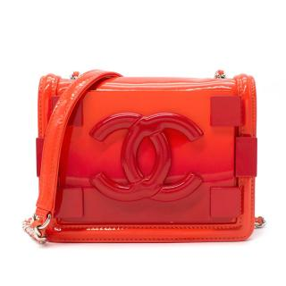 Chanel Red Ombre Boy Brick Plexiglass & Patent Mini Flap