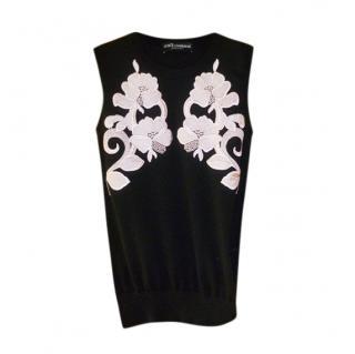 Dolce & Gabbana Black Lace Detailed Sleeveless Cashmere Vest