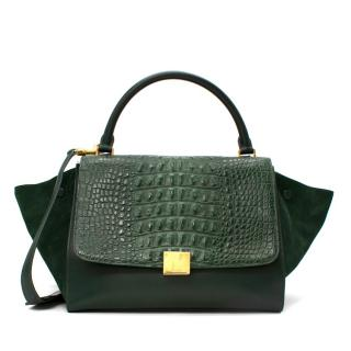 Celine Crocodile Trimmed Suede & Leather Green Trapeze Bag