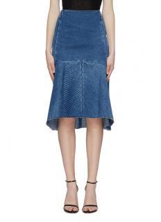 Balenciaga panelled flared denim skirt