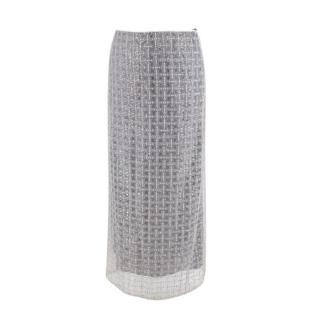 Elspeth Gibson London Grey Embellished Sheer Midi Skirt