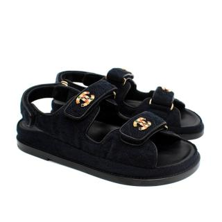 Chanel Navy Quilted Denim Dad Sandals - Rare sold out colourway