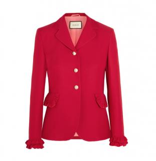 GUCCI Wool Silk-blend Single-breasted Ruffle Jacket