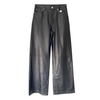 Rag & Bone Black Leather Wide Leg Pants