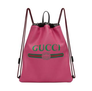 Gucci Drawstring Backpack Vintage Logo Pink