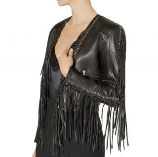Balmain Women's Black Fringed Leather Biker Jacket