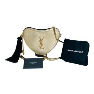 Saint Laurent Gold Tassel Monogram Heart Crossbody Bag