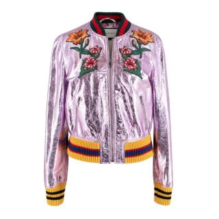 Gucci Metallic Pink Floral Embroidered Bomber Jacket