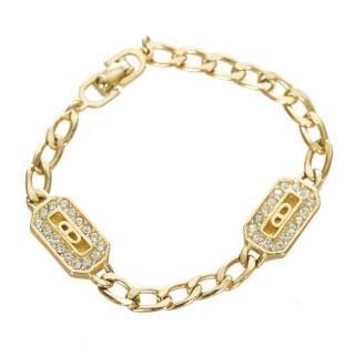 Dior Gold-Tone Vintage Crystal Chain Bracelet