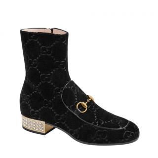 Gucci Velvet Monogram Horsebit Crystal Heel Boots