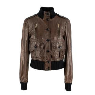 Gucci Wool Trim Brown Leather Cropped Jacket