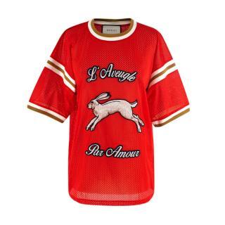 Gucci Men's L'Aveugle Par Amour Rabbit Mesh Top