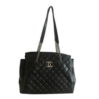 Chanel Maxi Black Calfskin Chain Tote Bag Shoulder