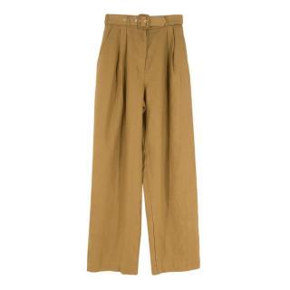 Zimmermann Wavelength belted pleated linen wide-leg pants