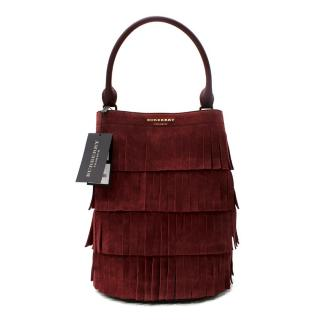 Burberry Prorsum Cherry Leather Suede Fringe Baby Bucket Bag