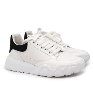 Alexander McQueen Court White & Black Leather Trainers