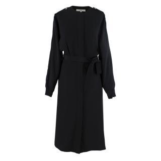 Tibi Black Silk Utility Button Down Dress