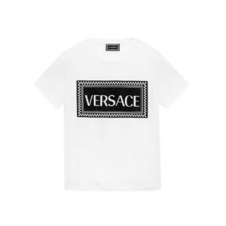 Young Versace 4A White Logo Print T-Shirt