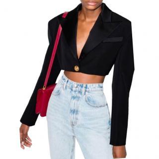 Balmain Black Cropped Wool Single Breasted Blazer